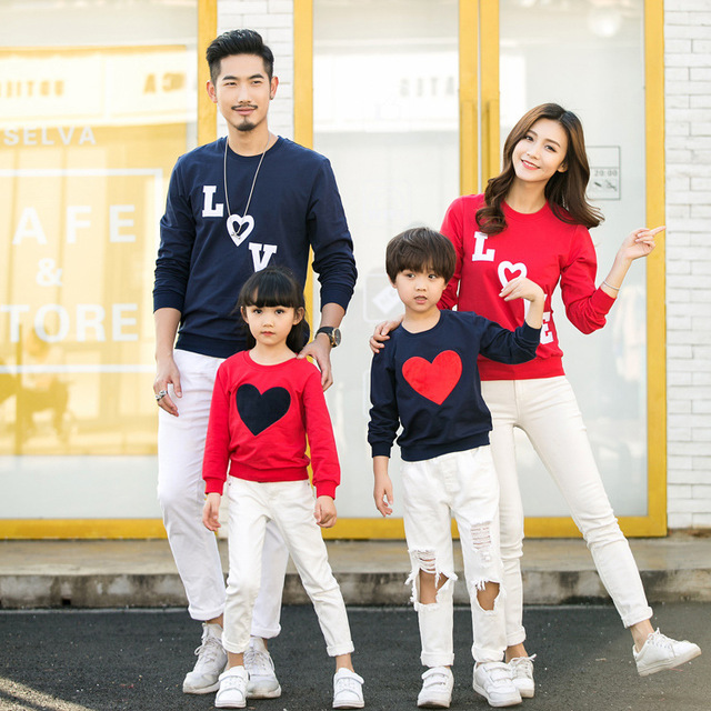34581ed2 New arrival 2019 Family Matching clothes Mom/Dad/Baby Love Long-Sleeve  Cotton T shirts spring/autumn Family Clothing sets