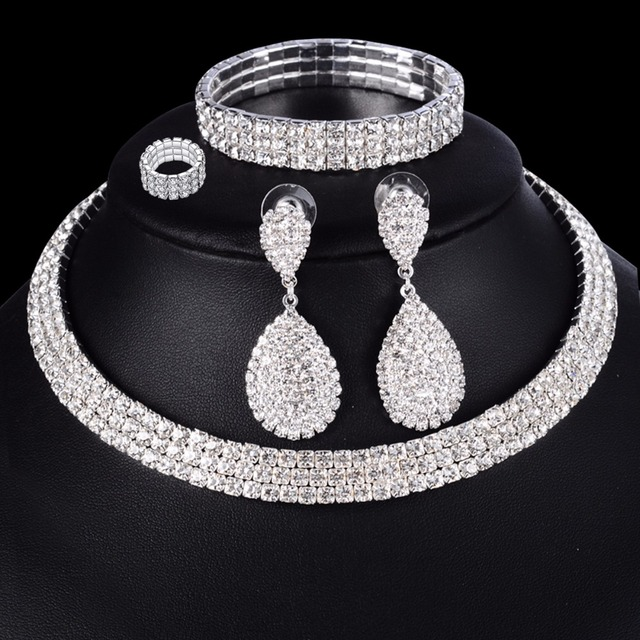 4 PCS Luxury Wedding Bridal Jewelry Sets for Brides Women Necklace Bracelet Ring Earring Set Elastic Rope Silver Crystal Jewelry 3