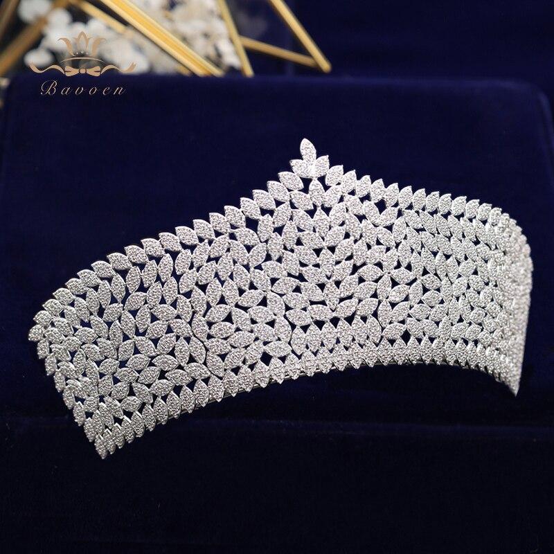 Bavoen Top Quality Royal Queen Brides Tiaras Crowns Headpieces Oversize Silver Bridal Hairbands Wedding Hair Accessories Gift