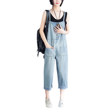 Washed Denim Blue Women Overalls Jumpsuit Rompers Casual Loose Pocket Lady Overall Fashion Female Pants Plus Size 3XL free shipping 2017 new fashion summer denim bib pants loose plus size 3xl jumpsuit and rompers women shorts cotton jeans casual