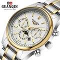 Relogio masculino marca de lujo guanqin reloj de los hombres de moda de negocios reloj de cuarzo del deporte del mens relojes fase lunar reloj luminoso
