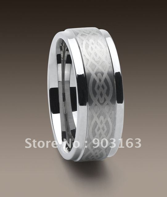 Wholesale Best selling New Arrival Guaranteed 100% 9MM Tungsten Carbide laser Logo Wedding Band Ring by EMS shipping