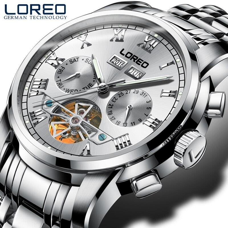 LOREO 2017 Tourbillon Business Fashion Men's Watch Automatic Mechanical Watch Hollow Luminous Waterproof Men's Watch цена