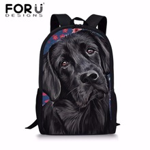 FORUDESIGNS Girls Black Labrador Printing School Bags Teenager Shoulder Backpack Softback Children Schoolbag for Kids Satchel