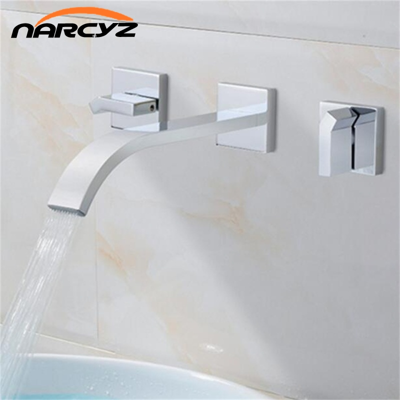 Double Handles Wall Mounted solid brass Basin Vessel Sink Faucet Square Plate Spout Waterfall Bath Tub waterfall Faucet XR8220