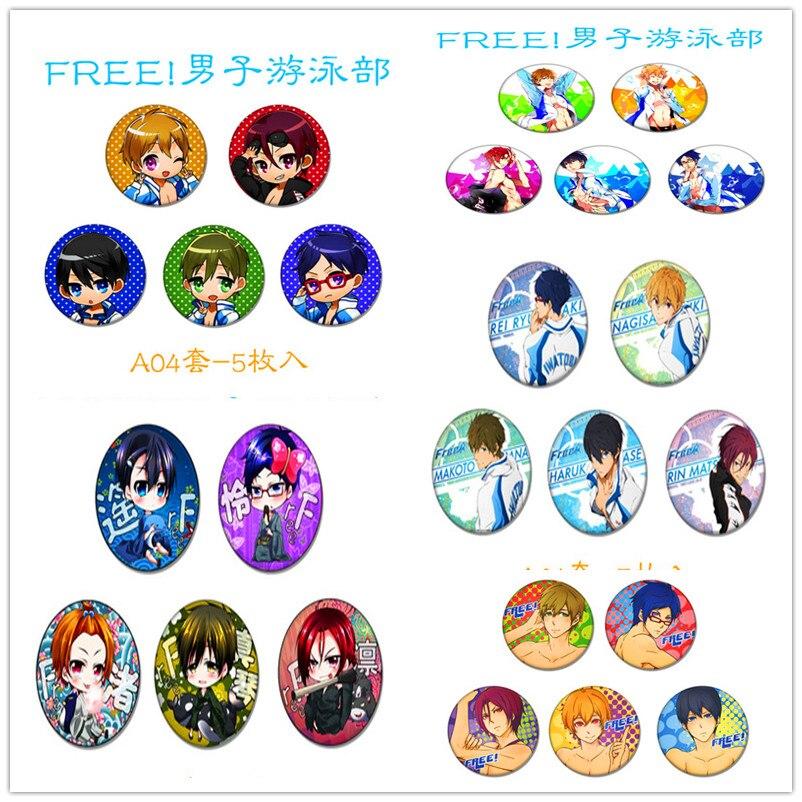 Оптовая продажа 5 шт./компл. 2.6 дюйма Аниме значок бесплатная! бесплатно Плавание клуб nanase Нагиса/Макото Рин Hazuki Нагиса Rei брошь значок