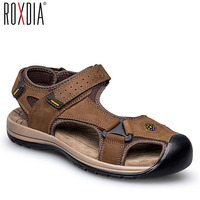 ROXDIA genuine leather men sandals summer cow leather new for beach male shoes mens gladiator sandal 39 46 RXM048
