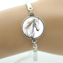TAFREE like White Horse Bracelets Glass Cabochon Dome Animal Style Fashion women Jewelry Gift for Christmas