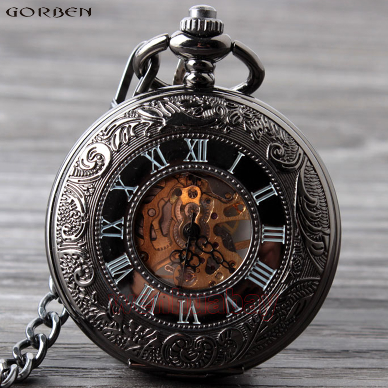 Antique Hollow Mechanical Hand Wind Pocket Watches Roman Numeral White Dial Men Pocket Watches Fob Chain Necklace Clock With Box