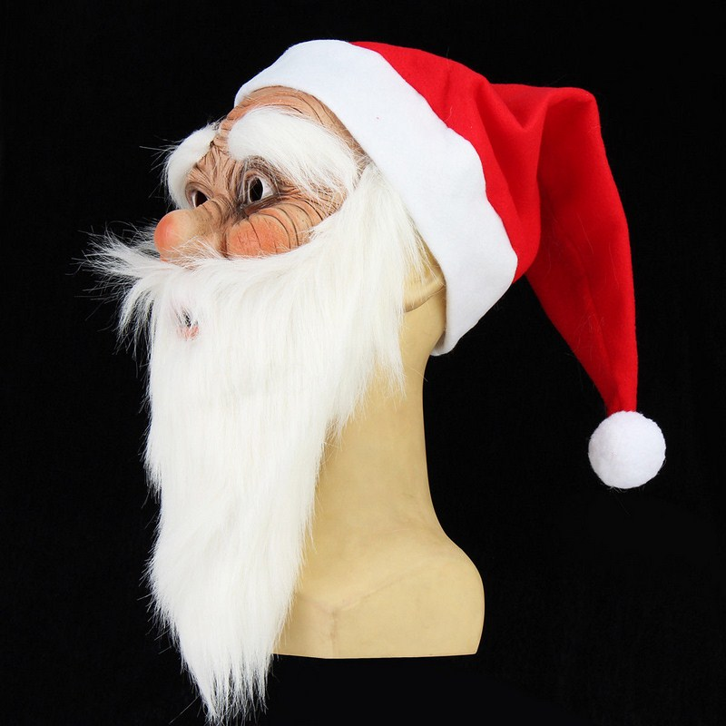 Funny Gag Toy Mask Santa Claus Wig Beard Costume Soft Realistic Full Face  Mask Christmas Cosplay Festival Party Toys For Adult In Gags U0026 Practical  Jokes ...