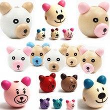 Деревянные бусины с объемным медведем из мультфильма, 5 шт., деревянные бусины со смайликом, сделай сам, клипсы для соски и ювелирные изделия для детей, детские бусины для рукоделия