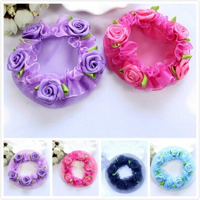 Cute Kawaii Girls' Flower Lace Reusable Bun Hair Nets For Dancers Kids' Bun Net Cover Hair Accessories Ballet Dancewear