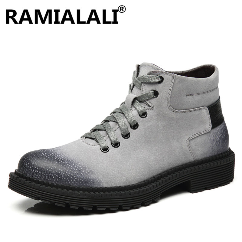 Noir Mâle Marque gris Bottes D'hiver Mode Noir marron Hommes Chaussures En De Cuir Qualité Véritable qw78Sgg