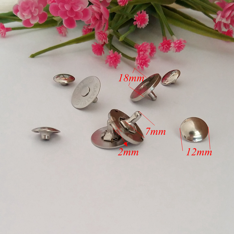 15set 18mm Double rivets magnetic buckle accessories fashion handbags accessories diy manual button button suck iron magnet in Buttons from Home Garden