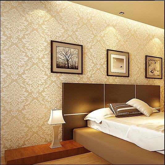 ФОТО 2016 new hot sale environmental non-woven high-grade gold wall paper bedroom Jane European background TV sitting room wallpaper