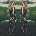 Осень Стиль Женщины Долго Dress O-образным Вырезом Цветочным Принтом Шифон Maxi Dress Элегантный Повседневная Чешские Бальные Платья Vestidos С Поясом