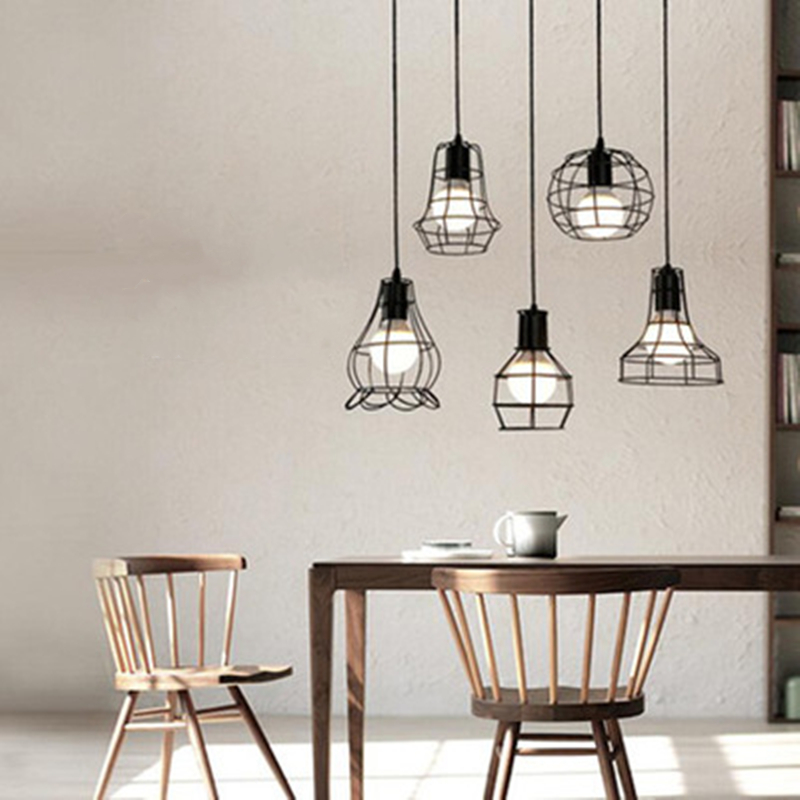 LED Indoor E27modern cage pendant light iron minimalist retro Scandinavian loft pendant lamp metal Hanging restaurantLamp in Pendant Lights from Lights Lighting