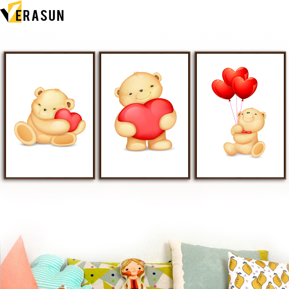 Cartoon Animal Bear Love Balloon Nordic Posters And Prints Wall Art Canvas Painting Wall Pictures Kids Baby Girl Boy Room Decor in Painting Calligraphy from Home Garden