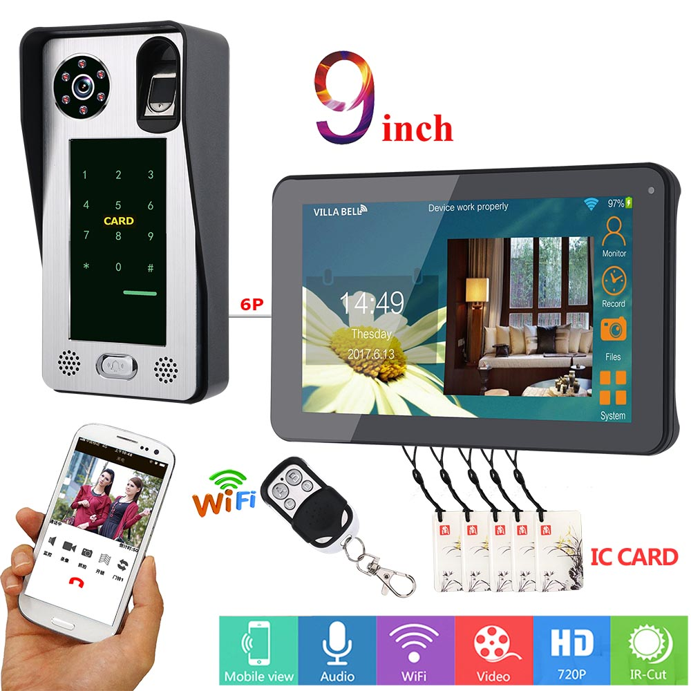 MOUNTAINONE 9 Inch Wired Wifi Fingerprint IC Card  Video Door Phone Doorbell Intercom System With Door Access Control System