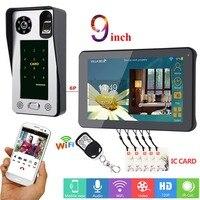 MOUNTAINONE 9 inch Wired Wifi Fingerprint IC Card Video Door Phone Doorbell Intercom System with Door Access Control System