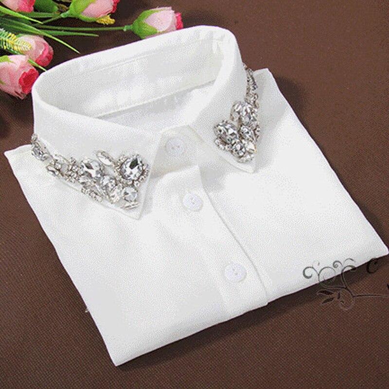 בציר אופנה נשי גביש בדרגה גבוהה לבן חצי הסרת חולצת חולצות צווארון למעלה חולצה מזויפות צווארון פיטר פן הסרת