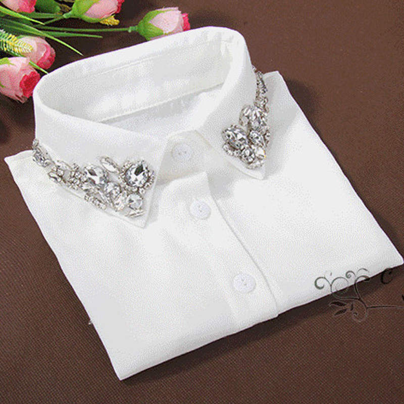 Vintage Fashion White Half Shirt Detachable High-grade Crystal Female Blouse Fake Collar Top Blouses Peter Pan Detachable Collar