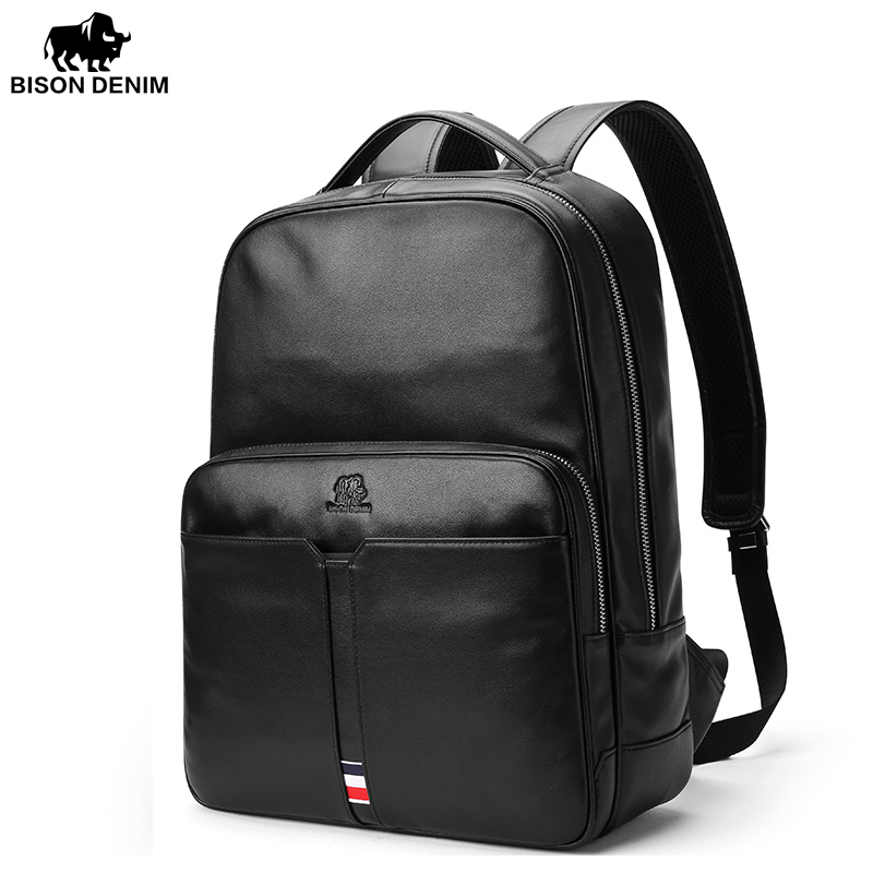 BISON DENIM Genuine Leather Men Laptop Backpac Travel Casual Business Male Luxury Waterproof Daypack Backpack For College N2688 design male leather casual fashion heavy duty travel school university college laptop bag backpack knapsack daypack men 1170g