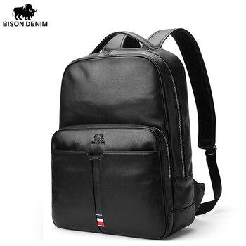 Bison Denim Genuine Leather Men Laptop Backpack Bag Travel Casual Business Male Luxury Waterproof Daypack Backpack For Colledge laptop bag