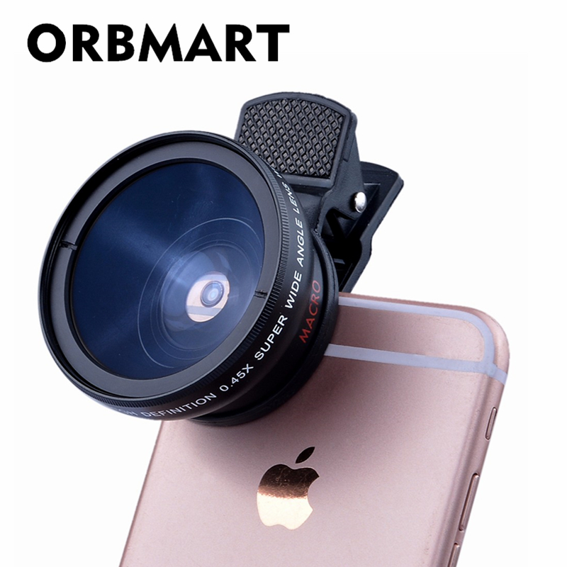 ORBMART Universal Clip Professional HD Camera Lens Kit 0.45x Super Wide Angle Lens + 12.5x Super Macro Lens Mobile Phone Lense