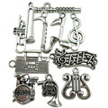 Free shipping 10PCS MIX Silver Music Note Saxophone Radio Harp Flute Drum Trumpet Band Pendant