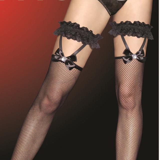 Envío gratis Sexy hollow negro medias de rejilla arco de cañón largo de malla fina fishnet medias calcetines hasta la rodilla otoño nueva ola