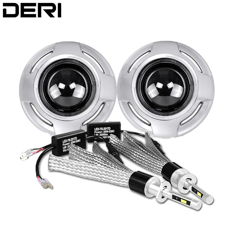 Car Brand Styling Lenses 2 5 inch Bi Xenon Headlight Projector Lens With H1 LED Lamp