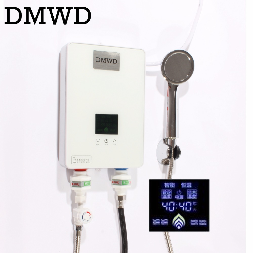 купить DMWD Electric hot Water Heater Instant Shower Tankless Watering heaters bathroom LED display Faucet Kitchen quick Heating tap недорого