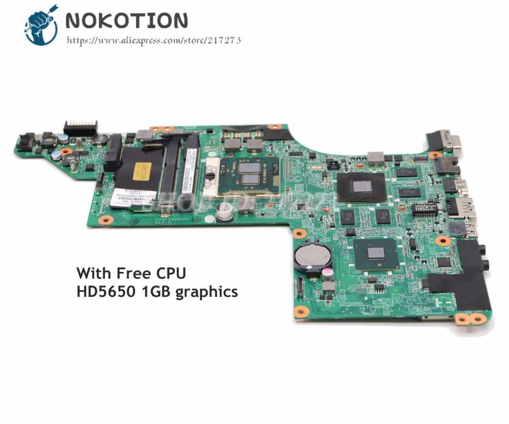 NOKOTION 615279-001 630279-001 603642-001 For HP Pavilion DV6 DV6-3000 Laptop Motherboard DA0LX6MB6H1 HD5650 GPU Free CPU nokotion 578377 001 for hp pavilion dv6 dv6 1000 laptop motherboard pm45 ddr3 free cpu dsicrete graphics