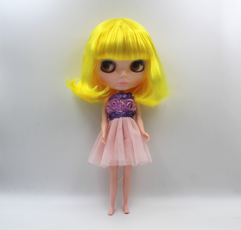 Special offer,Blyth doll,Fluorescent yellow bangs hair, nude doll,7 joints body, general body, fashion doll,DIY doll. ...