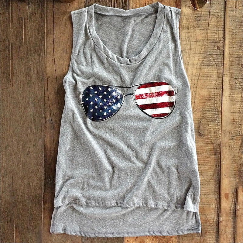 Women   Tank     Tops   Summer Sleeveless American Flag Glasses Print Female O-Neck   Tank   Casual Ladies   Tops