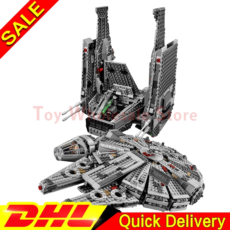 LEPIN 05006 Kylo Ren Command Shuttle + Lepin 05007 Millennium Falcon UCS Star battle Blocks Assembling Toys Clone 75104 75105 конструктор lepin star wnrs командный шаттл кайло рена 1053 дет 05006