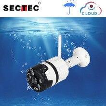 SECTEC Wifi zewnętrzna kamera IP 1080P 720P wodoodporna bezprzewodowa kamera do monitoringu dwukierunkowa Audio Night Vision P2P kamera CCTV typu Bullet