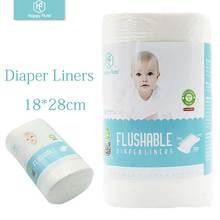 Happyflute 100% Biodegradable & Flushable diaper liners disposable cloth diaper liners 100 sheets per roll,18*28cm