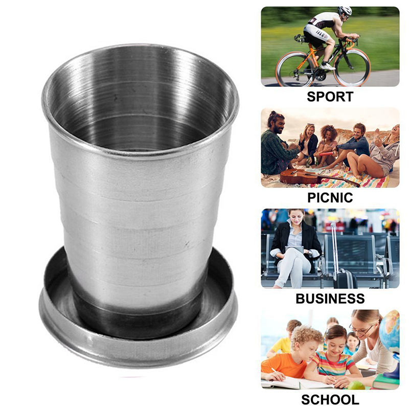 Mini Stainless Steel Portable Outdoor Travel Camping Folding Collapsible Cup Telescopic Mug With Keychain 75Ml 150Ml 240Ml (26)