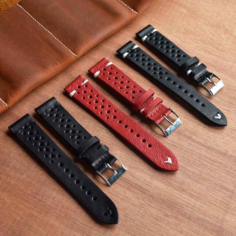 Onthelevel 18mm 19mm 20mm 22mm 24mm Watch Leather Strap Porous Red Black Watch Band Handmade Stitching Watchband #D