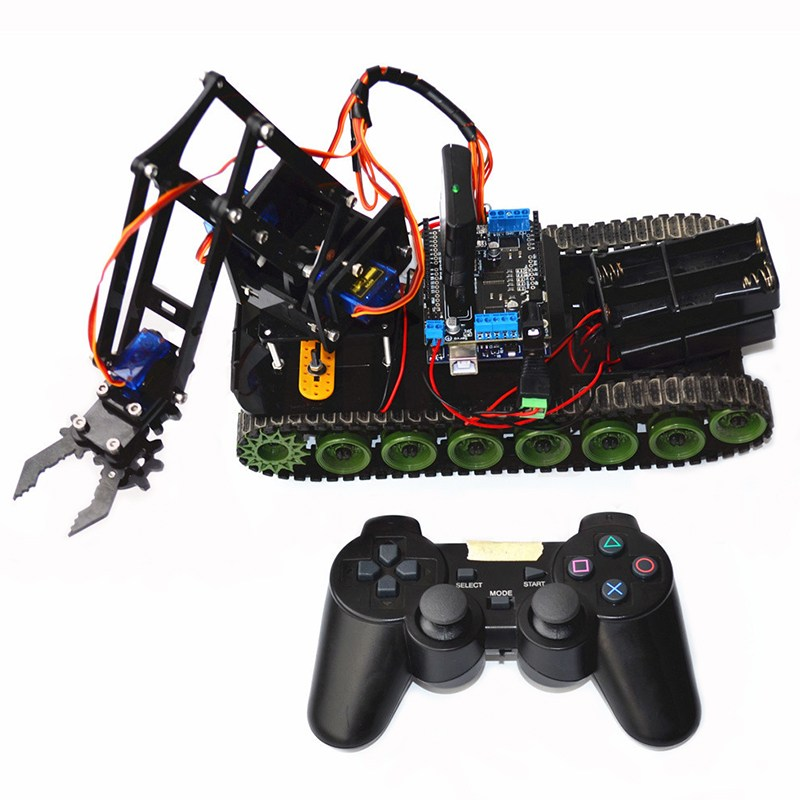 Newest Remote Control Robot Tank Toys RC Robot Chassis Assemble Kit With Servo PS2 Mearm RC Toys Gift 2 wheel drive robot chassis kit 1 deck