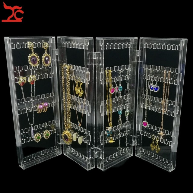 Online Shop Foldable 4 Panel Clear Acrylic Makeup Jewelry Organizer