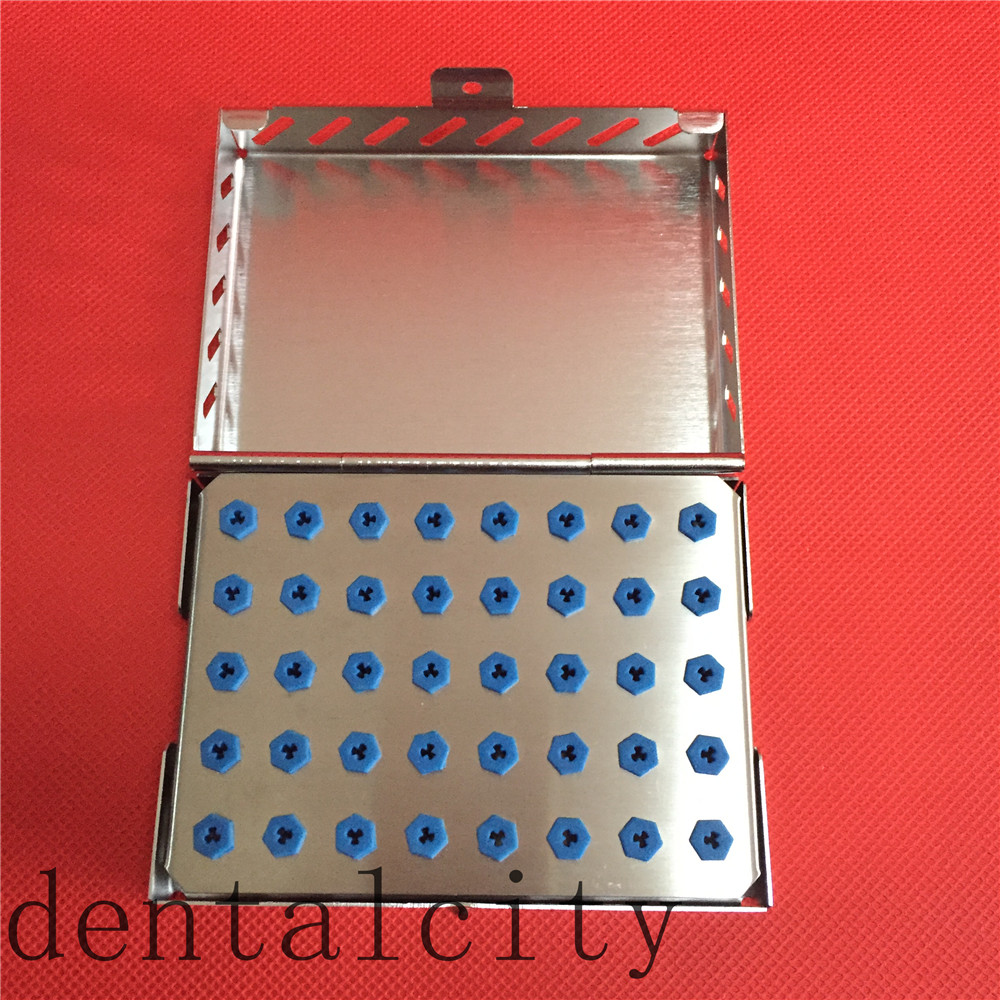 Best Dental Implant Drill Bur Tray with Stainless Case Sterilization 40-Holder 1pc dental tool implant bur drill sterilization cassette kit organizer box new