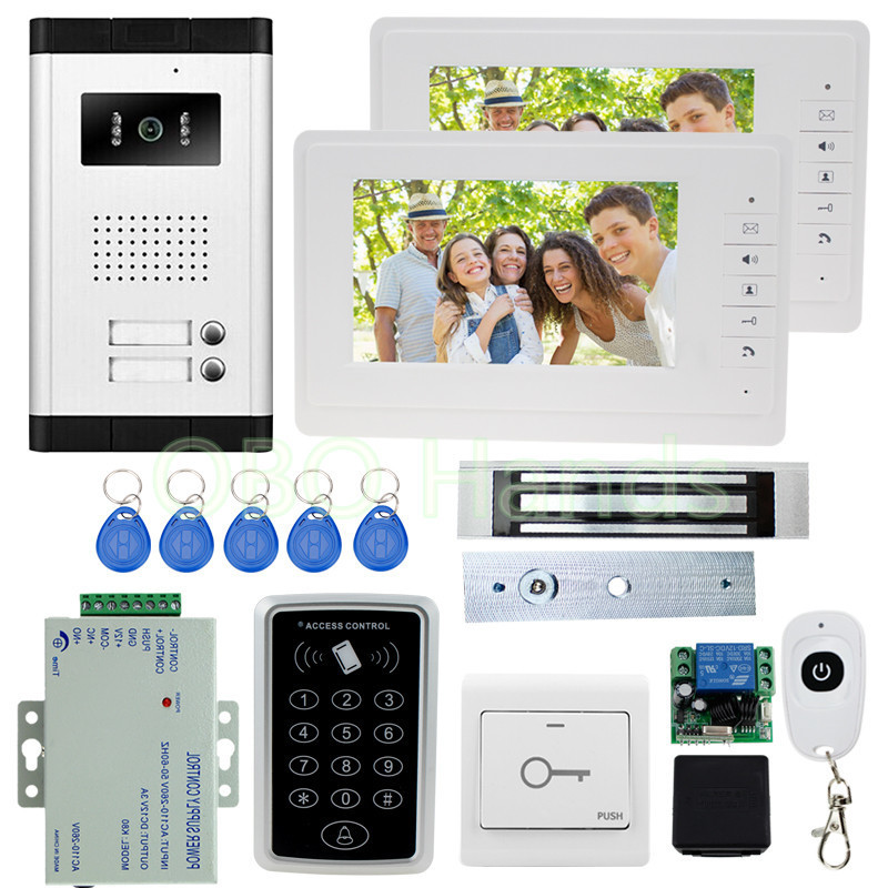 New Wired 7'' Video Door Phone Intercom Doorbell 2 Monitor Screens+1 Outdoor Camera+ RFID Access Control Keypad For Apartments