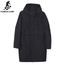 Pioneer Camp 2019 Windbreakers Men Brand Hooded Coat Spring Casual Long Male Jackets Clothing High Quality Trench Coat толстовка pioneer camp 305119