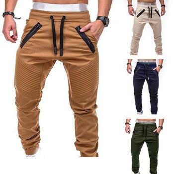 Pantalones informales de nuevo diseño para hombre, pantalones a la moda con bolsillos y cremallera, pantalones para correr de talla grande para hombre MY108