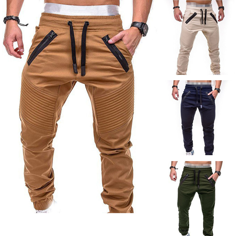 New Design Casual Men Pants Fashion Zipper Pocket Trousers Solid Joggers Mens Plus Size Sweat Pant Pantalon Homme MY108