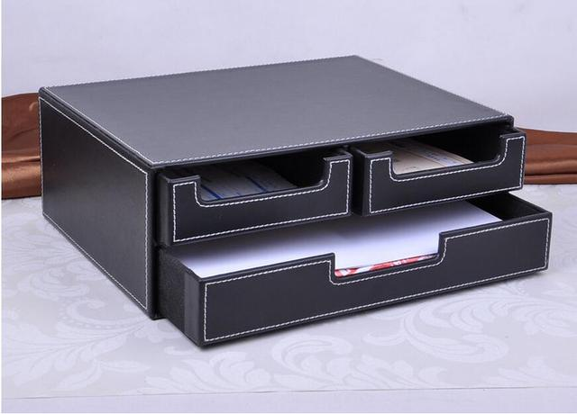 Double couche 3 tiroir classeur de bureau en cuir dépôt box