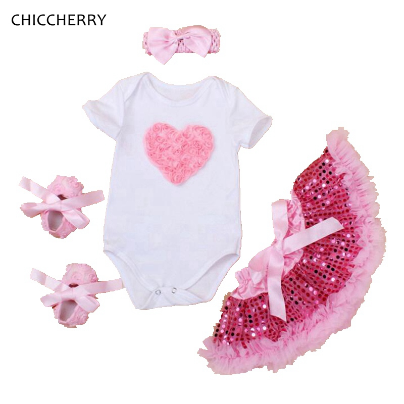 Rose Baby Girl Clothes Heart Valentine's Day Outfits Set Infant Bodysuit + Sequins Tutu Skirt Headband + Shoes Toddler Jumpsuit 3d love baby girl valentine day clothes heart toddler lace romper dress bow headband set vestido bebe wedding party outfits